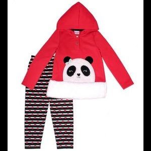Nannette Sherpa Panda Hoodie & Red Heart Leggings